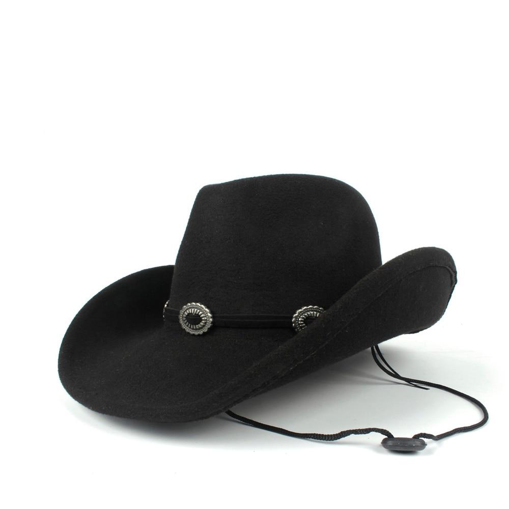 2019 Wolle Frauen Männer Hohl Western Cowboy Hut Roll-up Krempe Gentleman Outblack Sombrero Hombre Jazz Kappe Wind Seil Größe 56-58 Cm Offensichtlicher Effekt