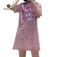 Summer Dress Women O Neck Short Sleeve Casual Dress Mini Sequins Pink Lace Dress Vestidos