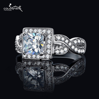 COLORFISH 1 Ct Princess Cut Simulated Diamond Rings Infinity Love Halo Style Engagement Ring Channel Set