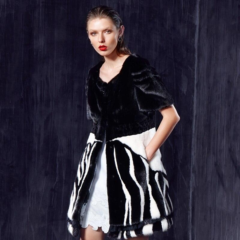 Moitié Manches Pour Vêtements Trajet Vison Manteaux Lvchi Fourrure Zèbre Naturel Black Valeur Réel Femmes Classic Gilet De Style Lignes dwX7qv765