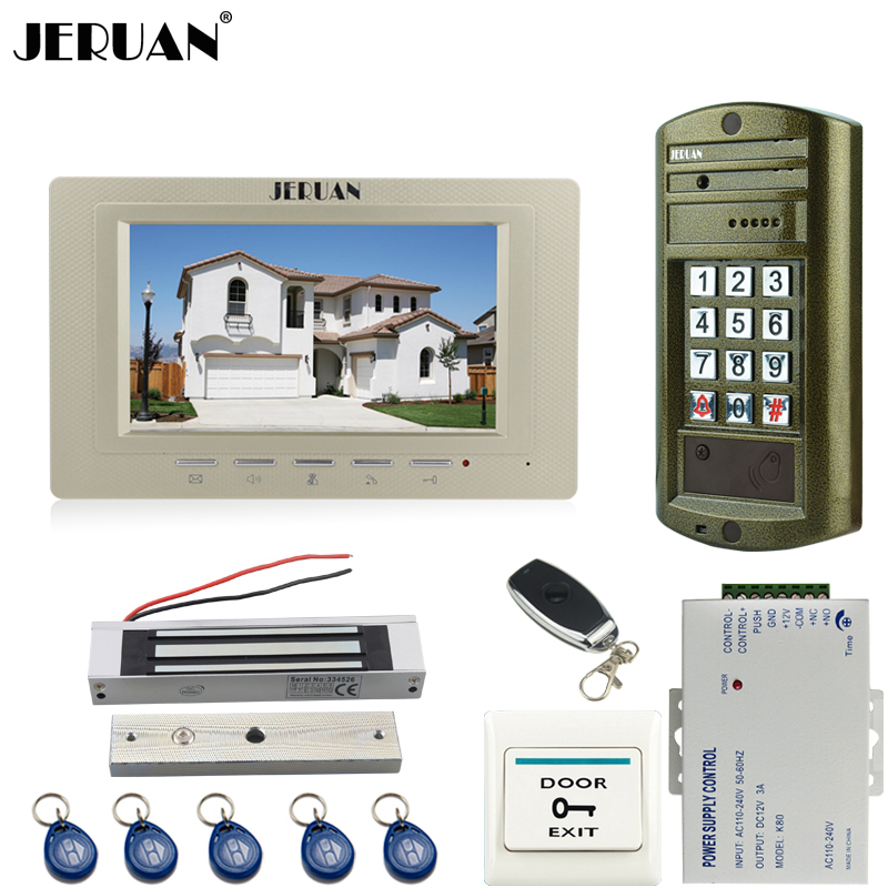 JERUAN Wired 7`` Video Door Phone Intercom System kit Metal Panel waterproof password keypad HD Mini Camera +180kg Magentic lock jeruan wired 7 touch key video doorphone intercom system kit waterproof touch key password keypad camera 180kg magnetic lock