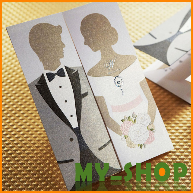 Wedding Invitation Card 3 Folding Black White Western Style Laser Cut Invitations Elegant