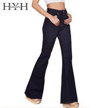 HYH HAOYIHUI для женщин Высокая талия Винтаж колокол сексуальный глубокий черный повседневные широкие брюки джинсы элегантный карман Кнопка расклешенные брюки