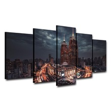 Posters Modern Wall Art Pictures Frame 5 Panel City Night Beautiful Landscape Home Decoration Living Room HD Printed Painting