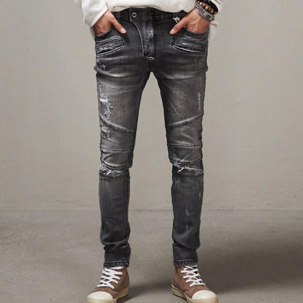 2015 Men slim jeans men s Distressed Biker jeans hiphop pants male pencil pants Washed grey