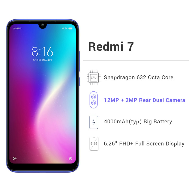 "Global ROM Xiaomi Redmi 7 3GB 32GB Smartphone Snapdragon 632 Octa Core 6.26"" Full Screen 12MP 4000mAh Battery Multi-Language"
