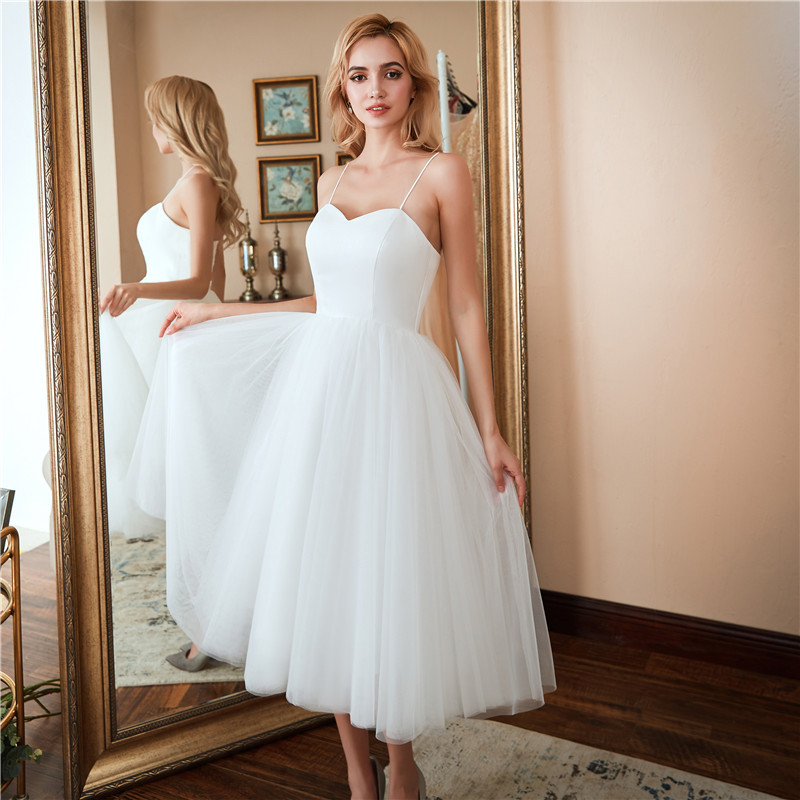 Short Beach Wedding Dresses Spaghetti Straps Vestido Noiva Praia Simple White A Line Prom Party Bridal