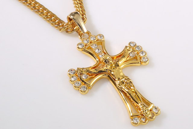 YSN2 Men Jewelry Gold Cover Jesus Cross Charm Inside Rhinestone