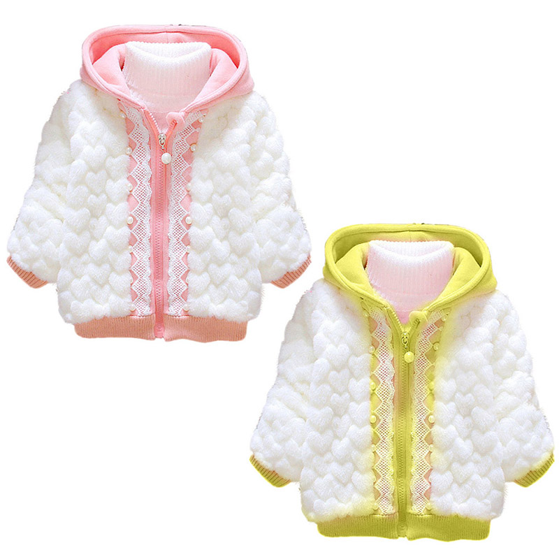 Toddler Girls Heart Zipper font b Tops b font Hoodie Coat Child Kid Warm Jacket Hoody