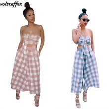 bfabf86d936 Mori Girl Strapless Overalls Plaid Print Two Piece Set Women Bow Crop Top  Flare Pants Wide