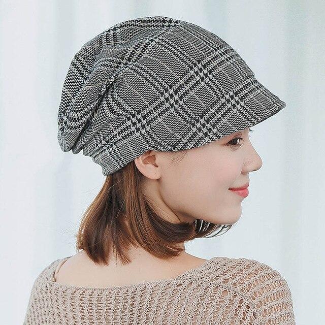 New Autumn Cotton Plaid Women Beanie Korean Style Pile Cap Hat Visor Hat  Travel Cap Fishermen Hat Fashion Painter Artist Caps 3e0b476e7de