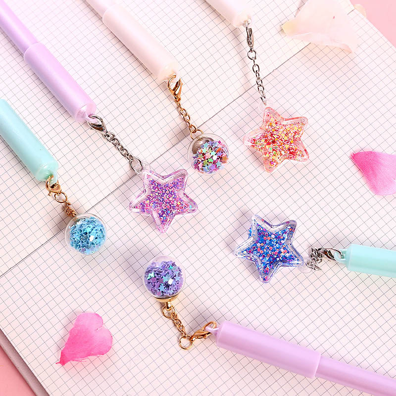 1PC Cute Pentagram Pendant Pens 0.38mm Kawaii Neutral Pen Novelty Gel Pens For Kids Girls Gift School Office Supplies Stationery