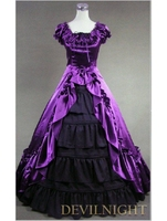 Классический фиолетовый и черный Рубашка с короткими рукавами Лук готический викторианской платье