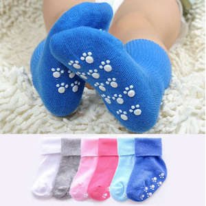 Baby Socks Rubbers Anti-Slip Newborn Toddler Infant Kids Solid-Color Cotton Boy Soft