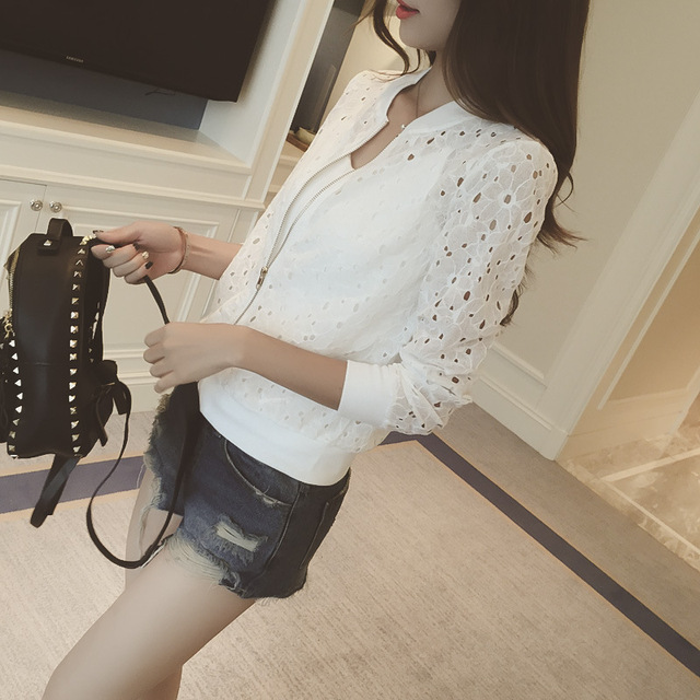 Fashion Hot 2021 New Women Casual Basic Autumn Spring Style Lace Chiffon Jacket Top Zipper Coat Full Sleeve Blusas Hollow out 2