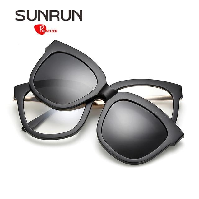 64f1c366ae344 Sunrun hombres gafas de sol polarizadas lente desmontable diseño de marca  gafas de marco cuadrado de