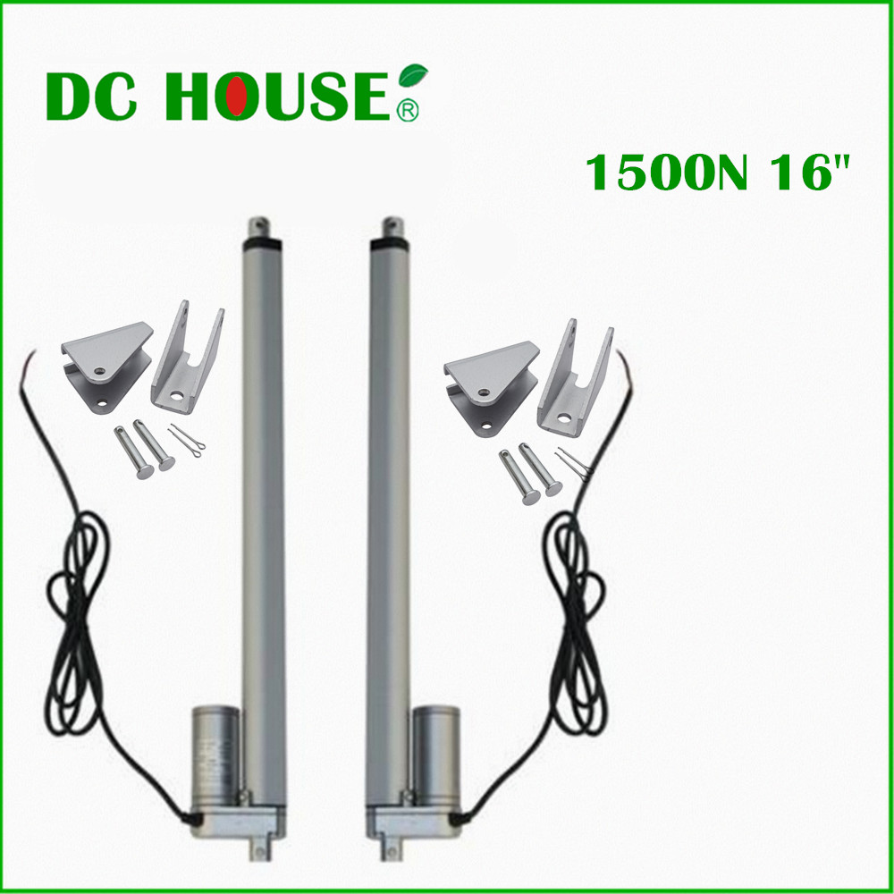 2 PCS 400mm/16inch Stroke Heavy duty DC 12V 1500N/330lbs Load Linear Actuator multi-function 16 Electric Motor 400mm multi function linear actuator motor stroke heavy duty dc 12v 75kg 165lbs reliable performance