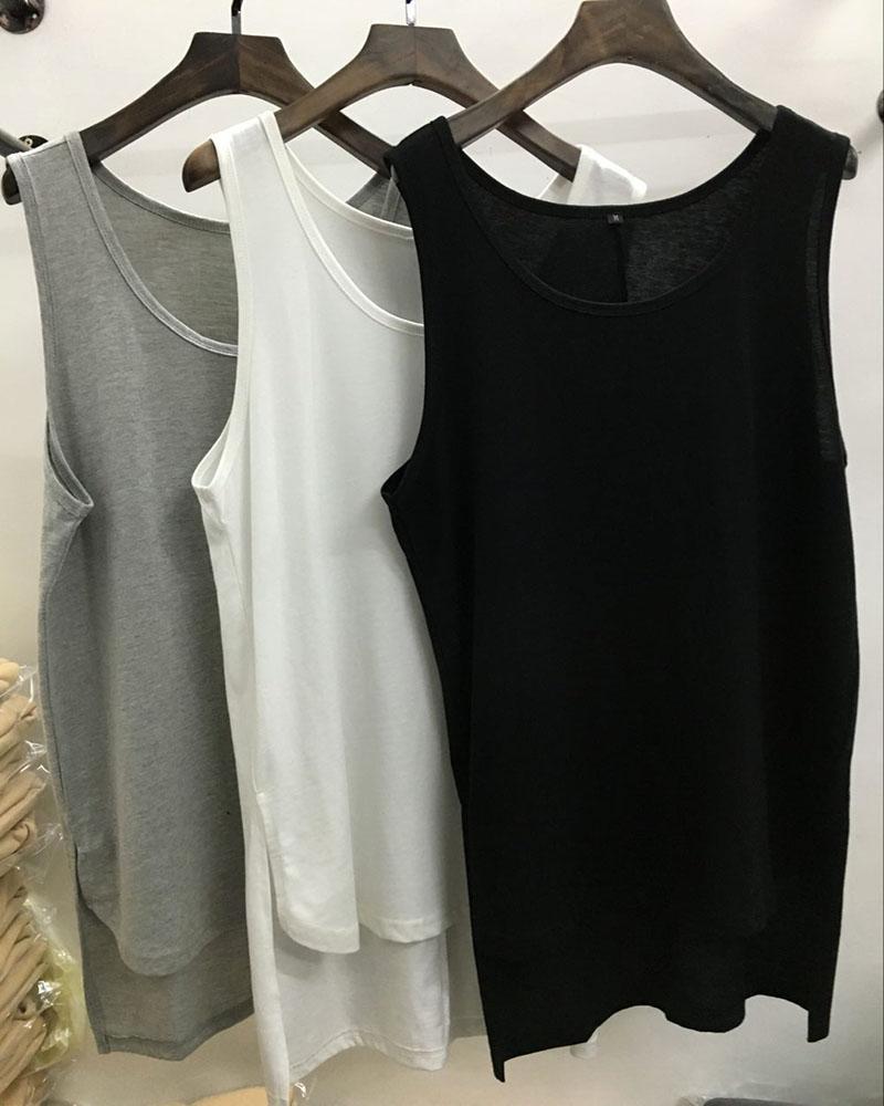 QoolXCWear 2019 new justin bieber Hip Hop vest men's   Tank     Tops   extended cotton vest Black white gray vest
