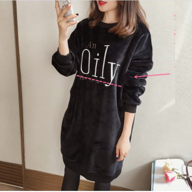 Maternity Thick Winter Casual Nursing Sweatshirt for Pregnant Women Pleuche Loose Letter Embroidery Breastfeeding Tops Clothes endearing round neck 3 4 sleeve printed loose fitting sweatshirt for women