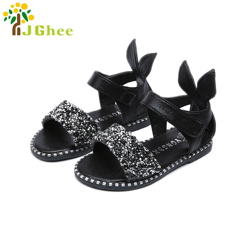 2018 Hot Sale Baby Girl Sandals Fashion Bling Shiny Rhinestone Girls Shoes With Rabbit Ear Kids Flat Sandals 13-22CM