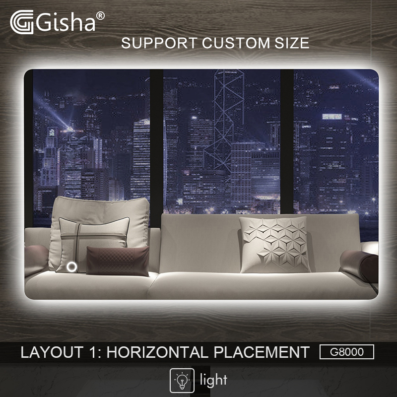 Gisha Smart Mirror LED Bathroom Mirror Wall Bathroom Mirror Bathroom Toilet Mirror Touch Screen G8000