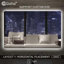 Gisha, умное зеркало, светодиодный, зеркало для ванной комнаты, настенное, зеркало для ванной комнаты, туалетное зеркало с сенсорным экраном, G8000