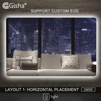 Gisha Smart Mirror LED Bathroom Mirror Wall Bathroom Mirror Bathroom Toilet Mirror Touch Screen G8000