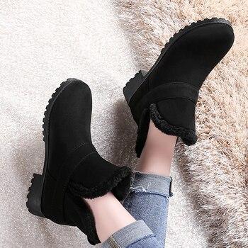KarinLuna large size 30-48 slip on comfortable women shoes woman winter warm plush woman snow boots warm fur ankle boots women