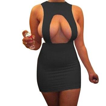 2019 Summer Women Sleeveless Sexy Off  Front Slit Sheath Fashion Slim Casual Party Club Bodycon Mini Dress casual off the shoulder sheath slit dress