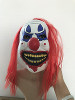 Red Long Hair Funny Clown Mask Halloween Latex Adult Party Masks Costume Full Face Mask Carnival Clown Mask Birthday Supplies