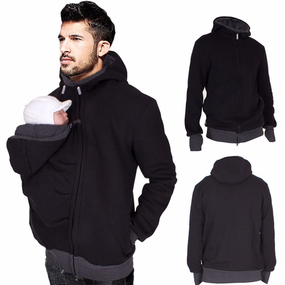 Dad Spring kangaroo hoodies cotton baby carrier jackets with zipper dad coat wearing carry infant sweatshirt warm clothes