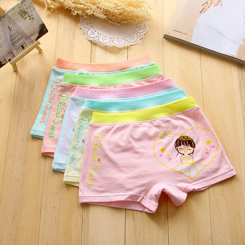 2017 hot sales Girl underwear Free shipping new arrived kids character boxer short children cotton panties 5pcs/lot 2-8year