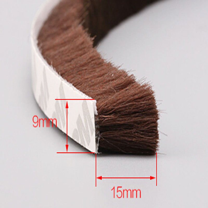 9mm x15mm Self adhesive dustproof aluminum window door tape brush seal strip weatherstrip draught excluder