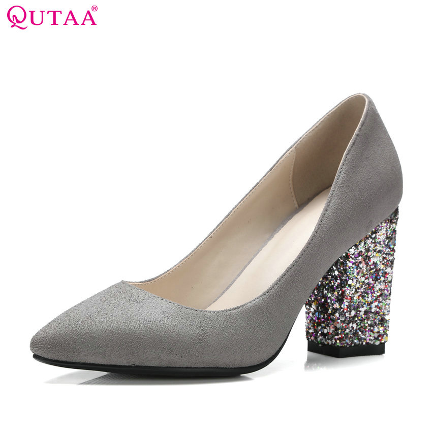 QUTAA 2017 Women Pumps Ladies Shoes Black Square High Heel Flock Slip On Fashion Pointed Toe Woman Wedding Shoes Size 34-43 new 2017 spring summer women shoes pointed toe high quality brand fashion womens flats ladies plus size 41 sweet flock t179