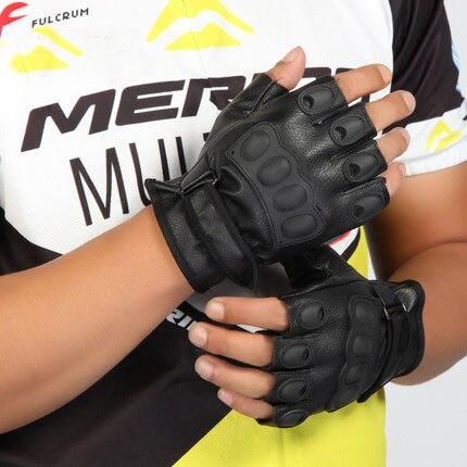 Artificial deerskin half finger gloves protective tactics leather gloves half fringerleather glove PU glove A 0253