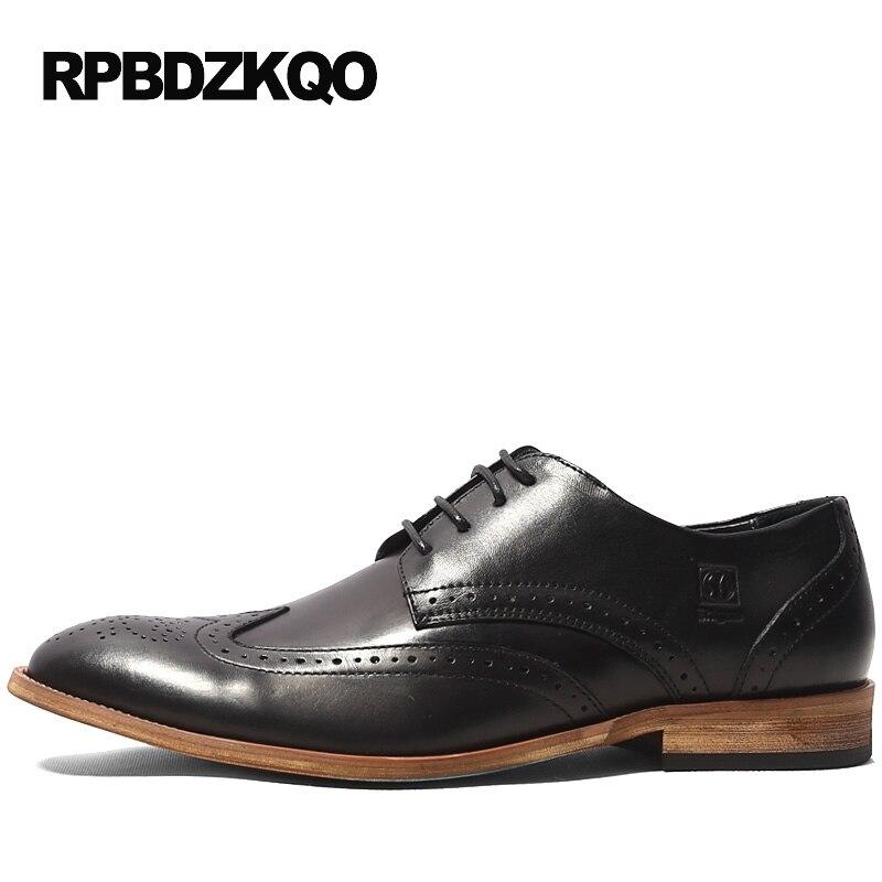 Noir Wingtip Tan bout rond chaussures Brogue 2017 Derby bureau robe haute qualité hommes formelle mariage chaussures appartements automne populaire