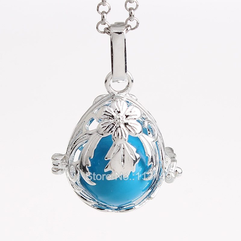 12pcs/lot Hollow Copper Round Cage Chime Box Locket Pendant For Mum Baby Bola Sound Ball Pregnancy Necklace HCPN26