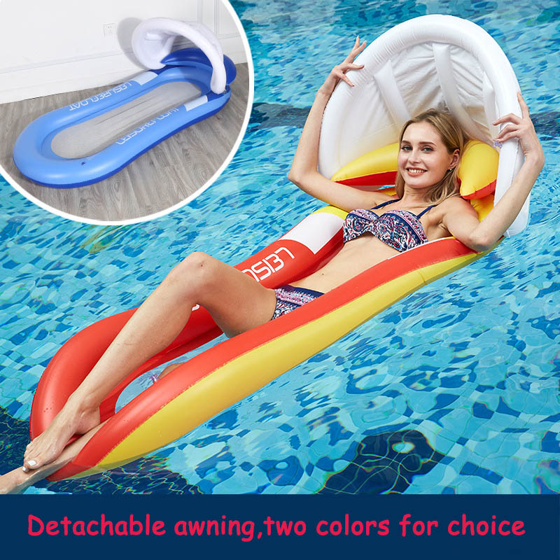 160cm Inflatable Water Mattress Float Toys With Awning Swimming Pool Play Sports Summer Outdoor Game For Adults Kids