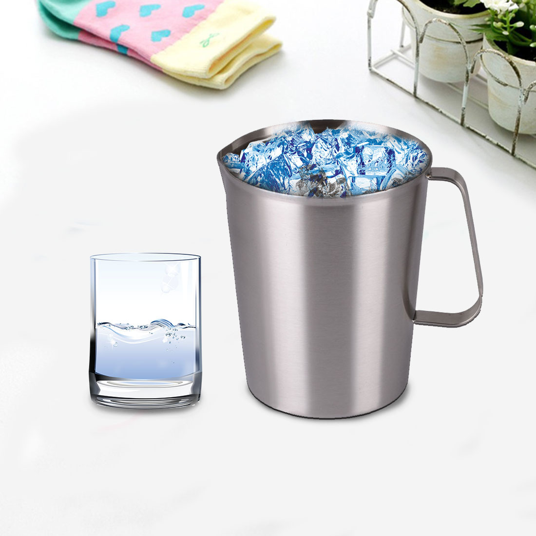 5 Size New Stainless Steel Cup Graduated Glass Liquid