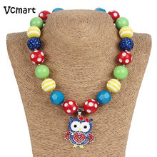 2pcs Girls Cute Owl Rhinestone Pendant Chunky Necklace Blue Green Red Beads Bubble Gum Necklace Photo Prop Girls Birthday Gift(China)