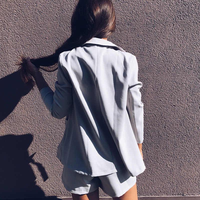 Bawełniana pościel lato garnitur kobiet 2 sztuk zestaw dres dla kobiet luźne Blazer & łuk elastyczny pas krótki Pant Suits wysokiej jakości