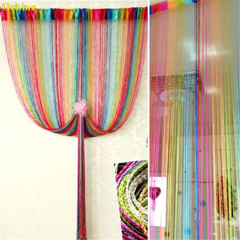 OCHINE 2M*1M Vogue Curtain For Door Window Panel Living Room Divider Curtain String Line Decorative Curtain