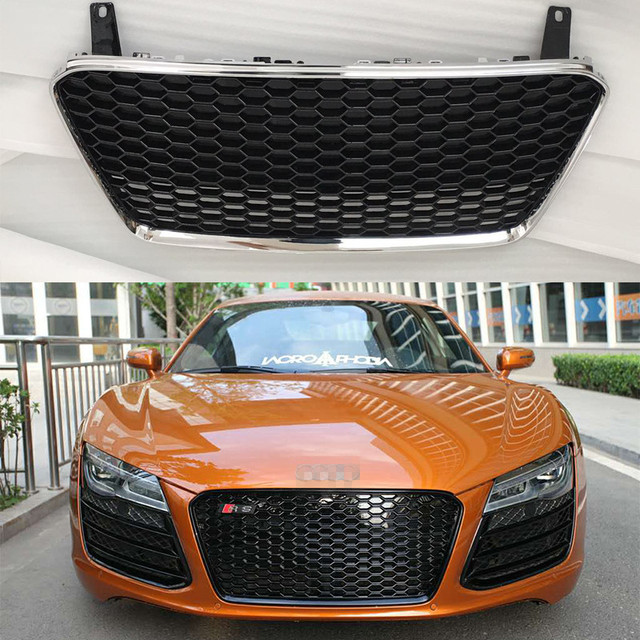 R8 Rs Style Abs Chrome Frame Car Front Bumper Honeycomb Mesh Grill