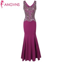 ANGVNS Prom Dresses New Fashion With O Neck Sleeveless Sequins Patchwork Split Mermaid Formal Evening Dresses