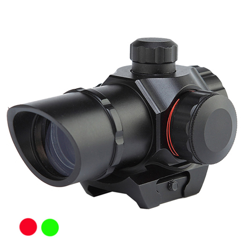 1 x 22 Tactical Red/Green Dot Sight Scope Dual illuminated Reticle Airsoft Aiming Riflescope for Hunting fit 20mm Rail Mounts-in Riflescopes from Sports & Entertainment