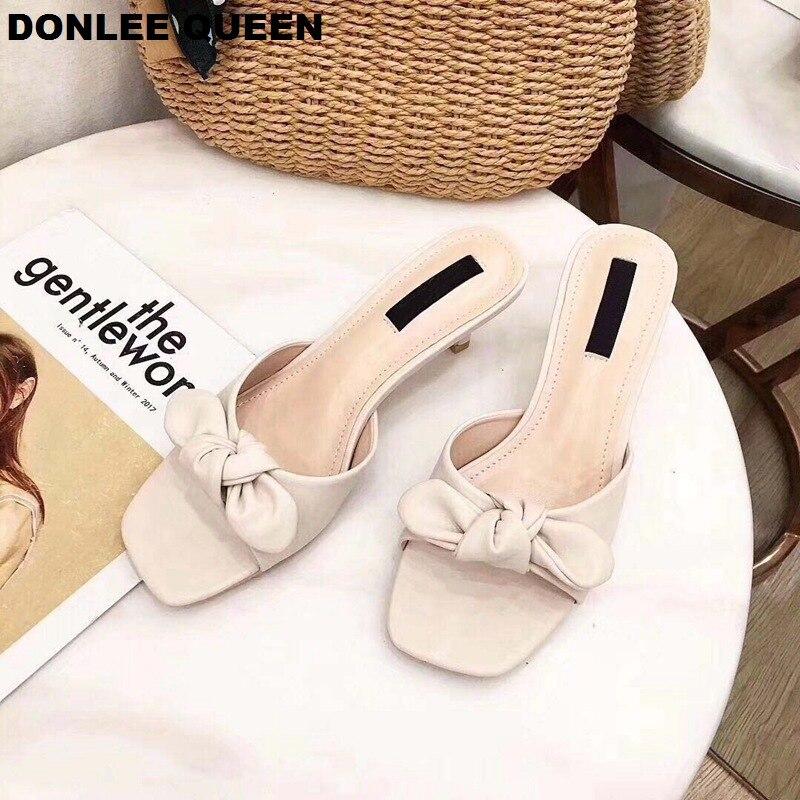 DONLEE QUEEN 2019 Summer Slippers Women Mules Butterfly Knot Modern Design High Heel Slip On Peep Toe Lady Flip Flops Women Shoe in Slippers from Shoes