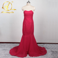 2016 New Arabic African Red Bridesmaid Dress Plus Size Maternity Off Shoulder Long Sleeves Lace Backless