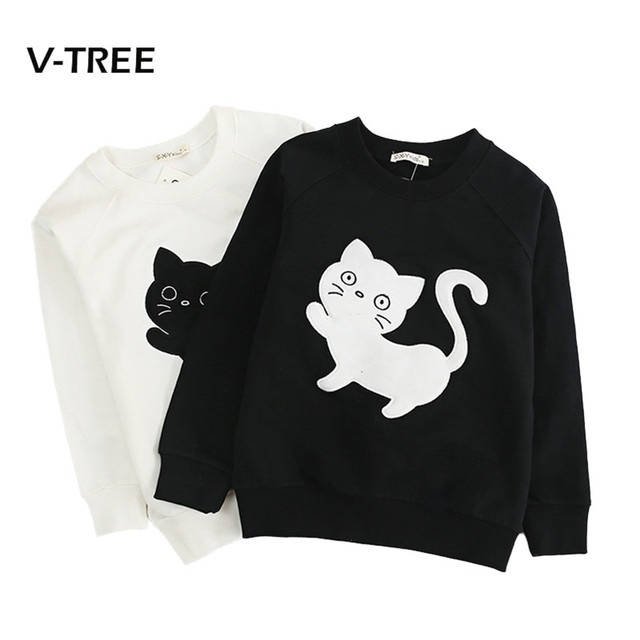 New Kids Outwear Boys Girls T Shirt Teenage School Girls Sweatshirt Clothes Cotton Black White Cat Print Shirt For Kids 3-12year