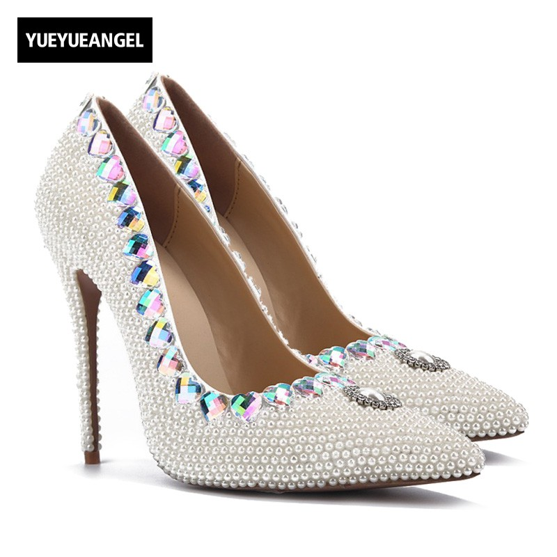 New Women Dress Shoes Heart Shaped Crystal Decoration Bead Pumps Slip On For Women Pointed Toe Nightclub Wedding High Heel Shoes sequined high heel stilettos wedding bridal pumps shoes womens pointed toe 12cm high heel slip on sequins wedding shoes pumps