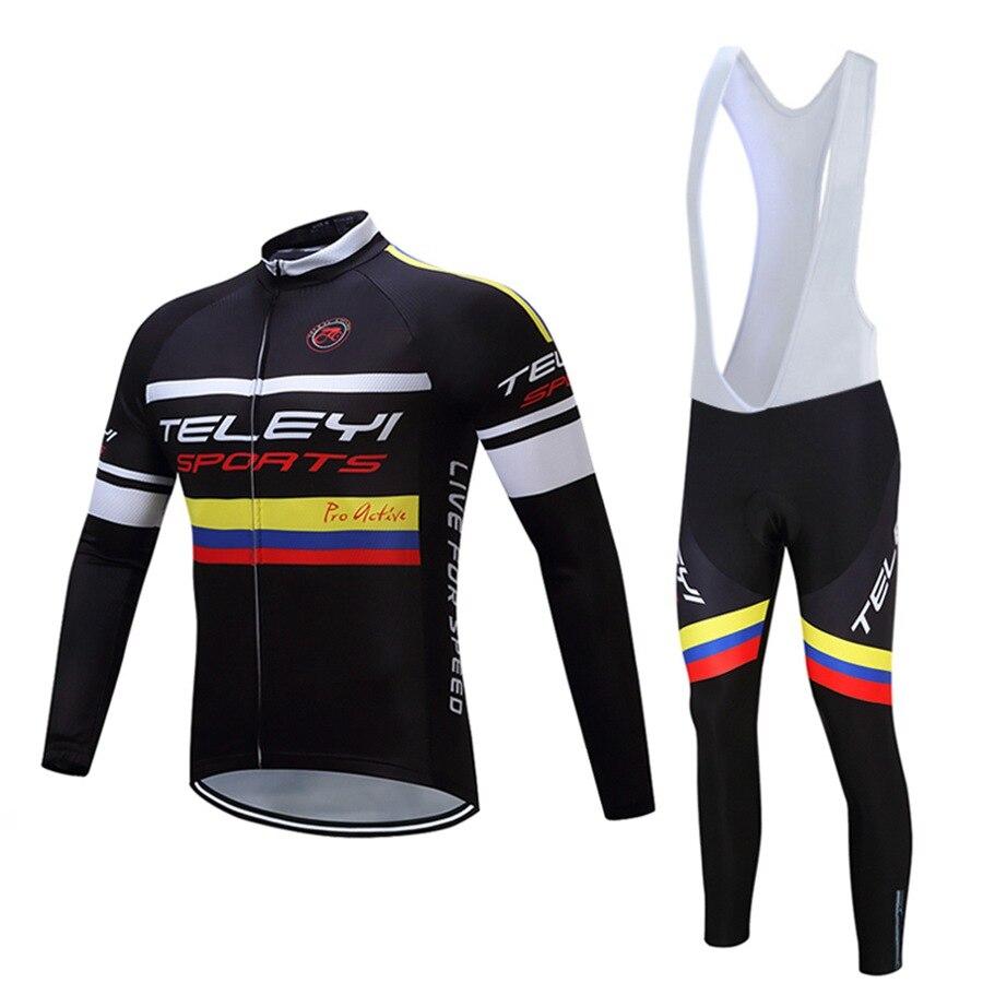 ФОТО TELEYI Men Cycling Jersey/ Long Sleeve Outdoor Sport Bike Spring Jersey Bicycle Clothing Breathable Bib Pants Set S-4XL